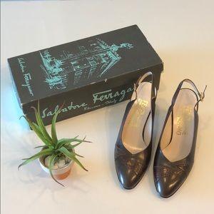 FERRAGAMO Brown Snakeskin Close Toe Heel Sandals